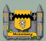 The Morrissey coat of arms superimposed on an artists rendition of Morrhaven Castle.